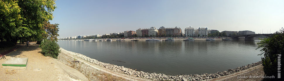 Margaret Island (Margit-sziget), Sight to Pest and Margaret Bridge - Budapest, Hungary - Panorama photo (panoramic image)