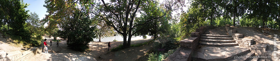 Margaret Island (Margit-sziget), Stairway to the riverbanks of the Danube - Budapest, Hungary - Panorama photo (panoramic image)