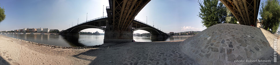 Margaret Island (Margit-sziget), Under the Margaret Bridge - Budapest, Hungary - Panorama photo (panoramic image)