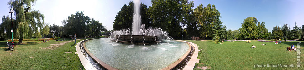 Margaret Island (Margit-sziget), Fountain - Budapest, Hungary - Panorama photo (panoramic image)