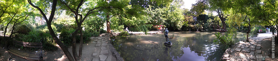 Margaret Island (Margit-sziget), Tiny lake with a waterfall - Budapest, Hungary - Panorama photo (panoramic image)