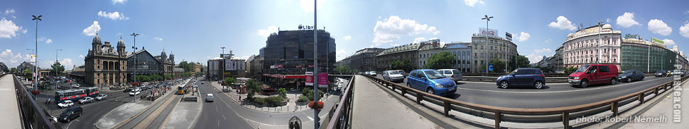 Nyugati Square, Flyover (overpass) - Budapest, Hungary - Panorama photo (panoramic image)