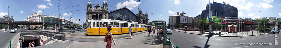 Nyugati Square, Tram stop at the Nyugati Railway Station - Budapest, Hungary - Panorama photo (panoramic image)
