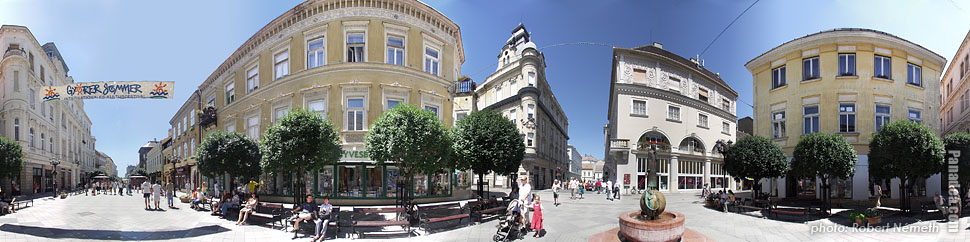 Baross Gábor Street - Győr, Hungary - Panorama photo (panoramic image)
