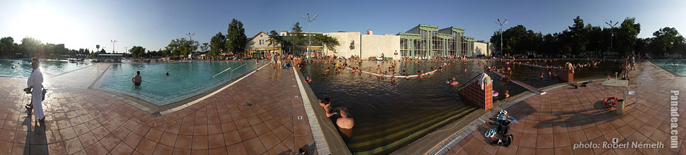 Open-air and thermal bath, Medicinal Spa - Hajdúszoboszló, Hungary - Panorama photo (panoramic image)