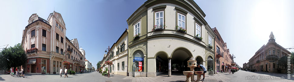 Fő Street - Kaposvár, Hungary - Panorama photo (panoramic image)