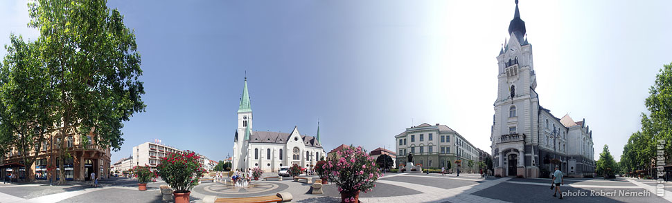 Kossuth Square, City Hall - Kaposvár, Hungary - Panorama photo (panoramic image)