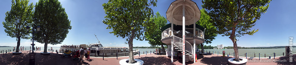 Lakeside of the Balaton, port and jetty - Keszthely, Hungary - Panorama photo (panoramic image)