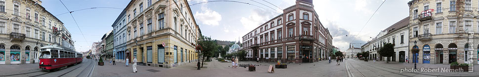 Erzsébet Square - Miskolc, Hungary - Panorama photo (panoramic image)