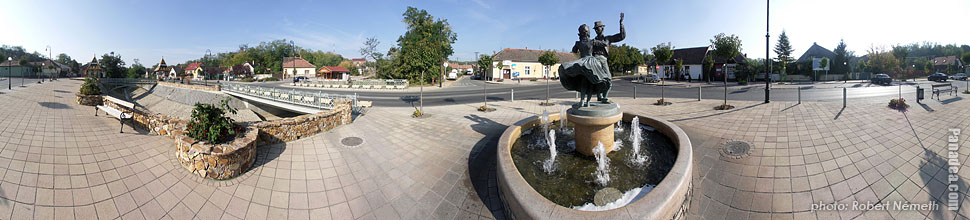 Main Square, fountain - Mogyoród, Hungary - Panorama photo (panoramic image)