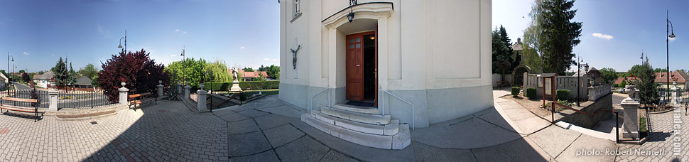 Saint Michael Roman Catholic church - Mogyoród, Hungary - Panorama photo (panoramic image)