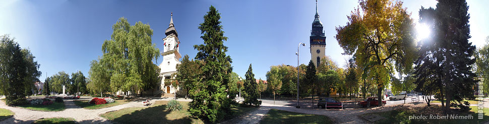 Heroes' Square - Nagykőrös, Hungary - Panorama photo (panoramic image)