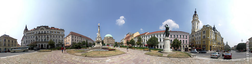 Széchenyi Square - Pécs, Hungary - Panorama photo (panoramic image)