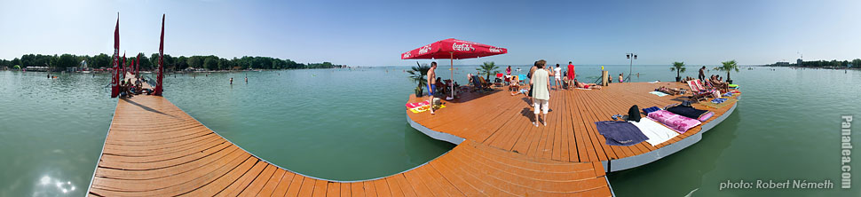 Lakeside of the Balaton, Beach - Siófok, Hungary - Panorama photo (panoramic image)