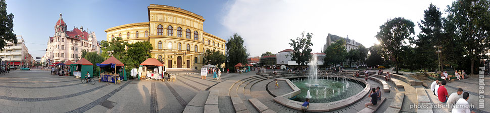 Dugonics Square, University of Szeged - Szeged, Hungary - Panorama photo (panoramic image)