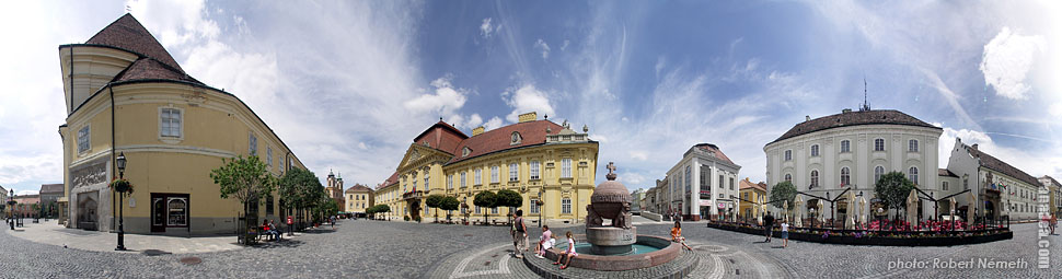 Városház Square, Episcopal palace, City Hall - Székesfehérvár, Hungary - Panorama photo (panoramic image)