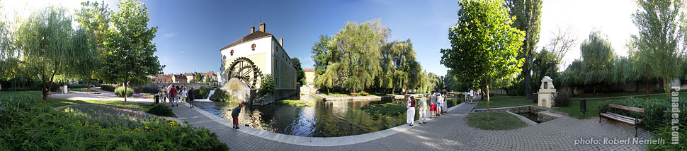 Watermill and the Tapolca Stream - Tapolca, Hungary - Panorama photo (panoramic image)