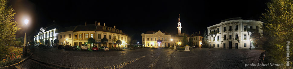 City Hall by night - Veszprém, Hungary - Panorama photo (panoramic image)