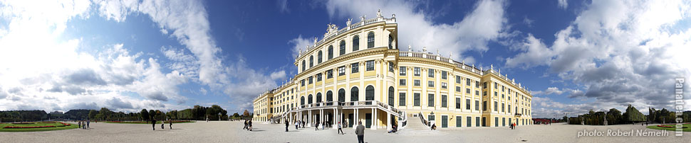 Schönbrunn Palace and Garden - Vienna, Austria - Panorama photo (panoramic image)
